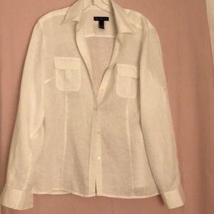 Inc International Concepts White Linen Blouse
